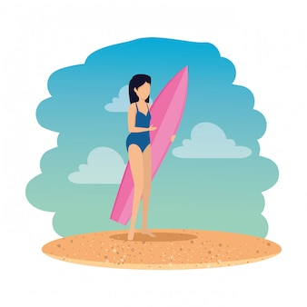 Mulher, com, swimsuit, e, surfboard, praia