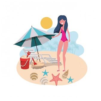 Mulher, com, swimsuit, praia, e, guarda-chuva