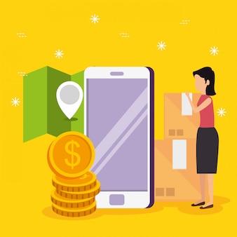 Mulher com tecnologia de comércio eletrônico de smartphone e localização
