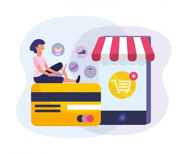Mulher com tecnologia de laptop e smartphone para compras on-line