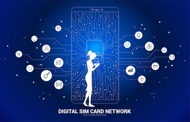 Mulher com telefone celular e linha de conexão de ponto com ilustração de ícone de cartão sim.