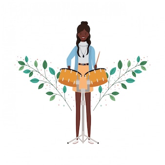 Mulher, com, tímpanos, ramos, e, folhas