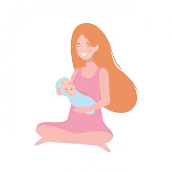 Mulher, com, um, bebê recém-nascido, em, dela, braços