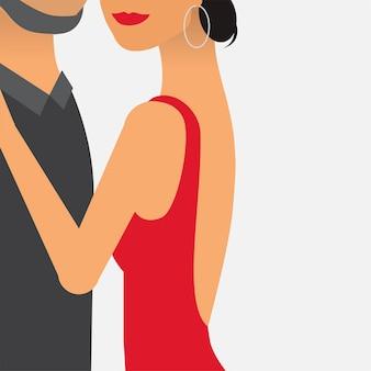 Mulher, com, um, bonito, homem, ilustração