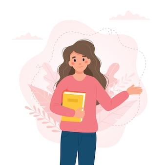Mulher com um livro dia do professor conceito do dia da alfabetização