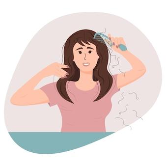 Mulher com um pente, sofrendo de perda de cabelo. alopecia na juventude, problemas de cabelo, calvície.