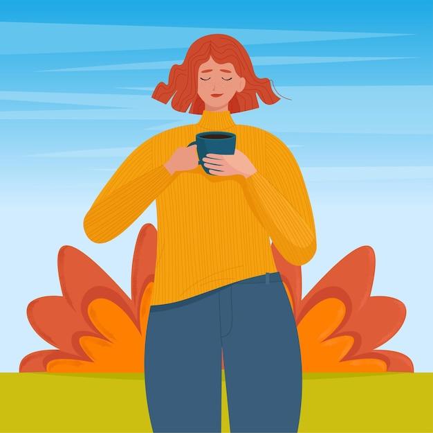 Mulher com uma xícara de café nas mãos em um fundo brilhante de outono ilustração vetorial em estilo simples