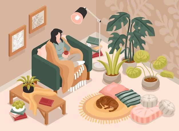 Mulher com uma xícara de café sentada em uma poltrona em uma aconchegante sala de estar. ilustração 3d isométrica