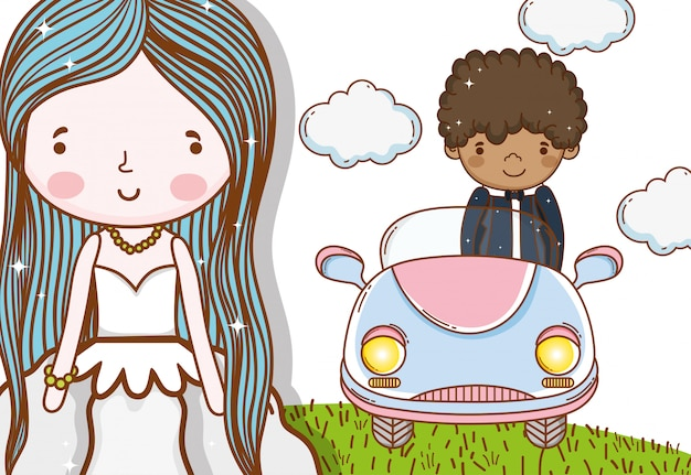Mulher com vestido e homem no carro com nuvens