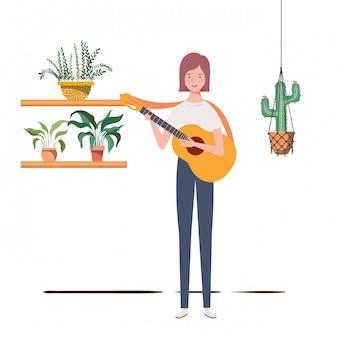Mulher, com, violão acústico, e, houseplants, ligado, macrame, cabides