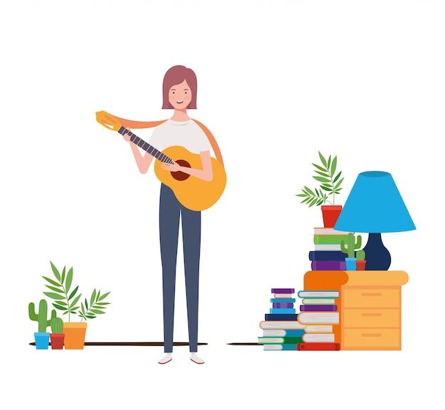 Mulher, com, violão acústico