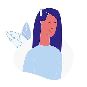 Mulher, com, zangado, rosto, apartamento, vetorial, ilustração