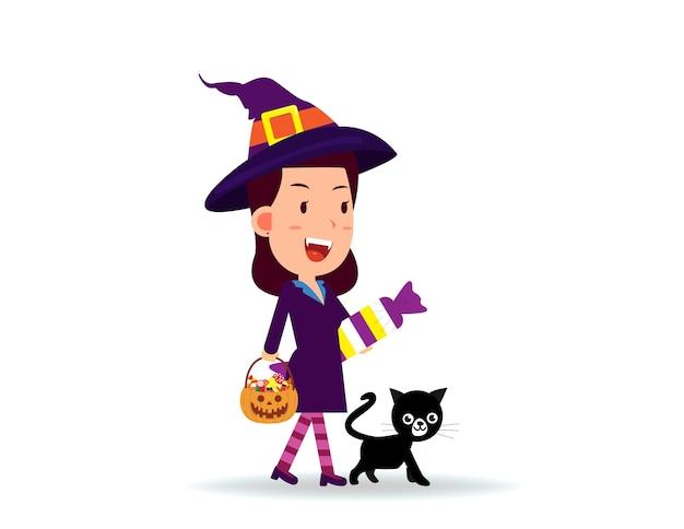 Mulher comemora o dia das bruxas usando fantasia de bruxa