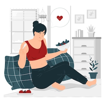 Mulher comendo comida saudável após ilustração de exercícios
