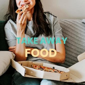 Mulher comendo pizza para viagem durante vetor de quarentena de coronavírus