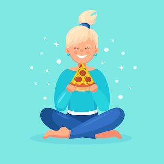 Mulher comendo uma fatia de pizza. personagem de desenho animado