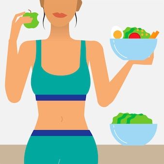 Mulher, comer, alimento saudável, ilustração