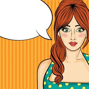 Mulher Comic mulher pop art com bolha do discurso