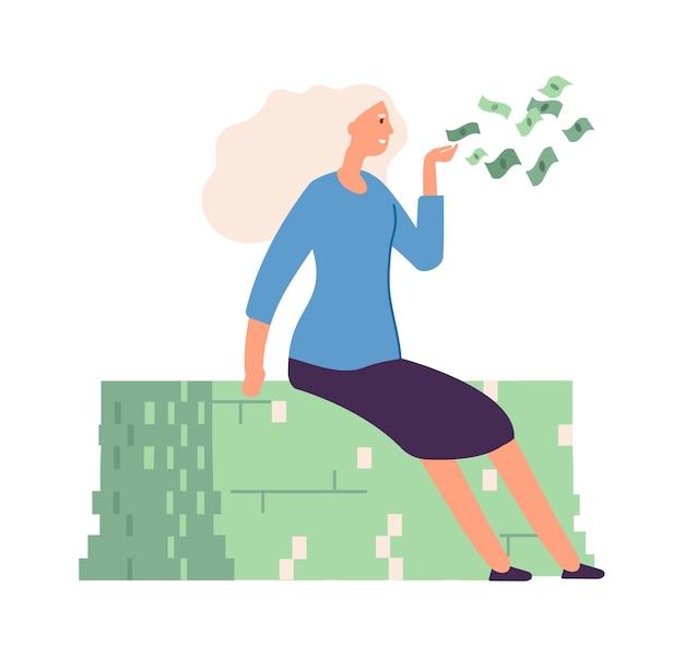 Mulher compartilhando dinheiro. dinheiro voando, garota rica doando. mulher de negócios rica isolada, sucesso no trabalho ou ilustração vetorial de crescimento financeiro. mulher feliz e bem-sucedida compartilhando dinheiro