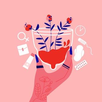 Mulher composição da menstruação com a mão segurando a touca menstrual com flores e produtos higiênicos