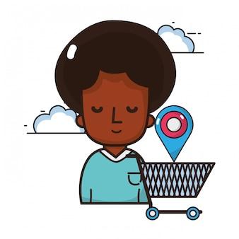 Mulher, compra, online, caricatura