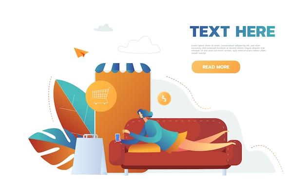 Mulher comprando coisas na loja online em um aplicativo móvel, vetorial, deitada no sofá