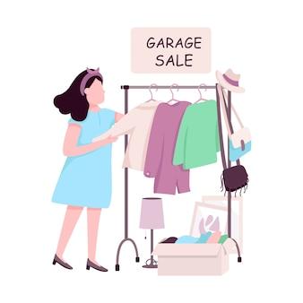 Mulher comprando no personagem sem rosto de cor plana de venda de garagem. menina caucasiana escolhendo roupas de segunda mão, fazendo compras ilustração de desenho animado isolada para design gráfico da web e animação