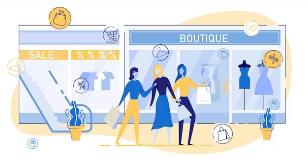 Mulher comprando roupas no vetor de shopping center.