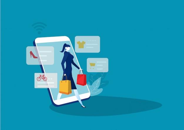 Mulher comprar coisas na loja online. compras on-line no celular. vetor