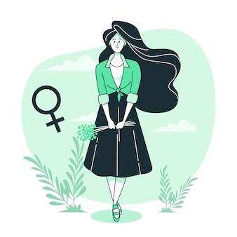 Mulher, conceito, ilustração