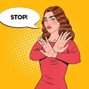 Mulher confiante de arte pop mostrando sinal de mão parada.