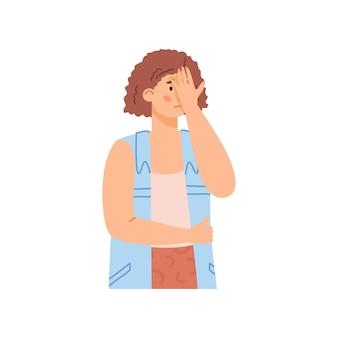 Mulher confusa e desapontada com ilustração vetorial plana de mão na cabeça isolada