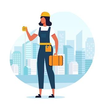Mulher construtor, empreiteiro plano