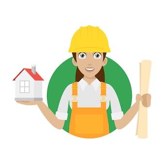 Mulher construtora de ilustração mantém a casa e planta, formato eps 10