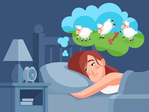Mulher conta ovelhas para dormir.