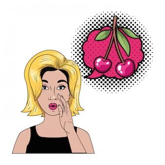 Mulher contando um segredo com bolha do discurso