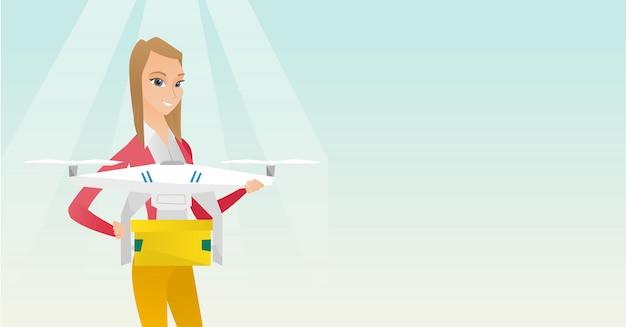 Mulher controlando entrega drone com pacote de post