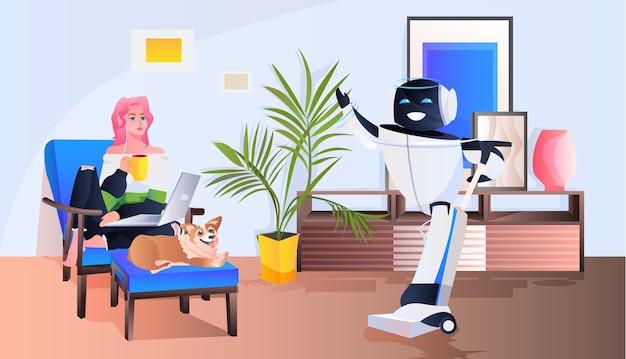 Mulher controlando zelador robótico com aspirador de pó inteligência artificial conceito de tecnologia de sala de estar interior horizontal comprimento total