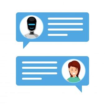 Mulher, conversando, com, robô