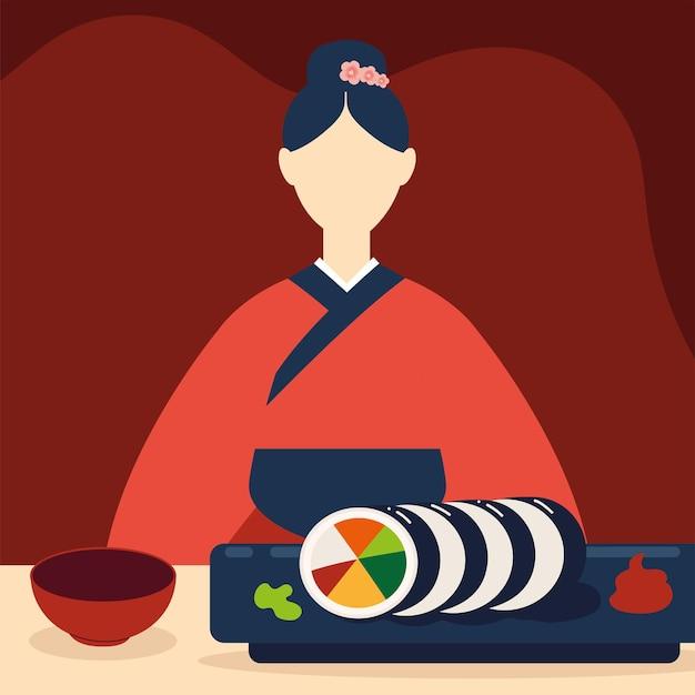 Mulher coreana e comida