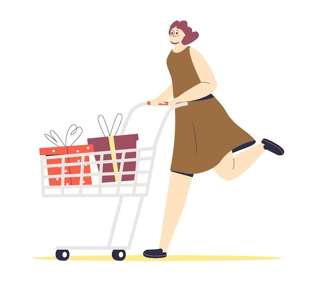 Mulher correndo com carrinho de compras