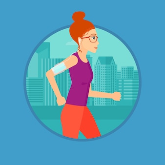 Mulher correndo com fones de ouvido e smartphone.