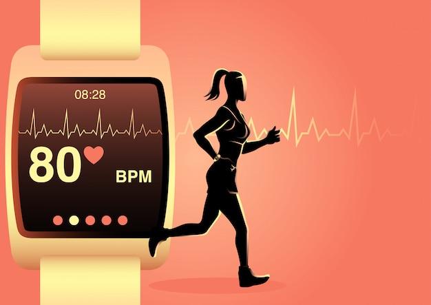Mulher correndo com relógio inteligente