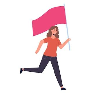 Mulher correndo com uma bandeira. ilustração vetorial