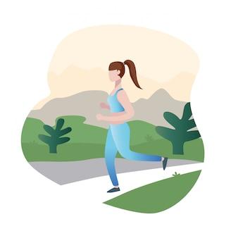 Mulher correndo dos desenhos animados