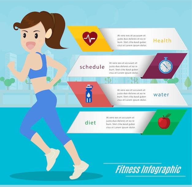 Mulher correndo e correndo infográficos de informações.