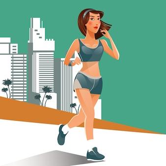 Mulher correndo. menina apta a fazer exercícios de esporte. mulher correndo na praia.