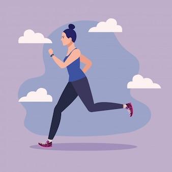 Mulher correndo, mulher no sportswear, jogging, atleta feminina, pessoa desportiva