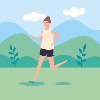 Mulher correndo na paisagem natureza cena vector ilustração design