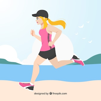 Mulher, correndo, nexto, praia, fundo
